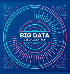 big data banner outline style vector image