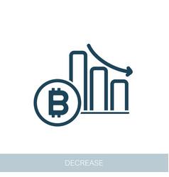 Bitcoin rate decrease icon vector