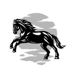 Black horse black white logo vector