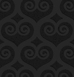 Black textured plastic swirly hearts with diamonds vector