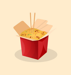 Box of wok noodles chinese food vector