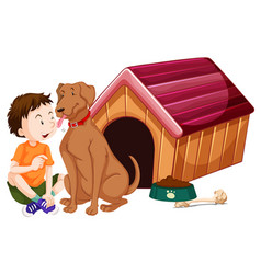 Boy and pet dog at doghouse vector