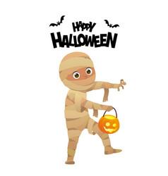 boy in halloween mummy costume cartoon character vector image