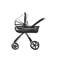 Carriage sketch hand drawn for baby vector