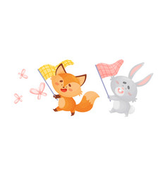 Cartoon foxes and hare with butterfly net vector