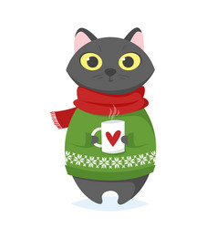 Cartoon style of christmas cat with cup vector