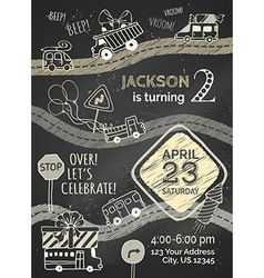 Chalk birthday invitation template on blackboard vector