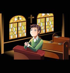 Christian praying vector