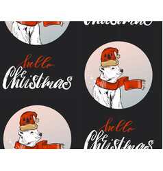 christmas pattern adorable santa snowmen bear vector image