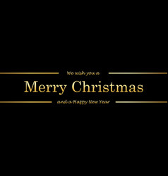 christmas tree card wishes text black background vector image