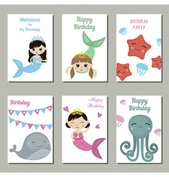 Collection of cute Birthday cards vector image