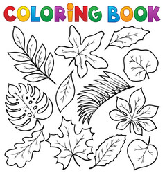 Coloring book leaves theme 1 vector