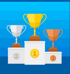 competition winners podium with gold silver and vector image