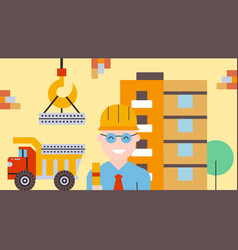 Construction house truck transports building vector