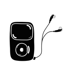 Contour mp3 player with headphones to listen music vector