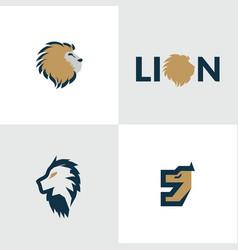 creative lion head design logo concept vector image