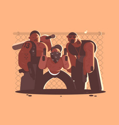 Criminal gang of men vector