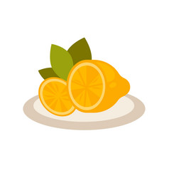 Cut lemon as flavor additive to tea on plate vector