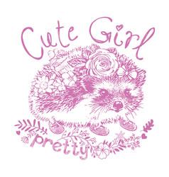 cute girl hedgehog print for kids vector image