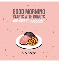 Delicious donuts on plate background Modern flat vector image