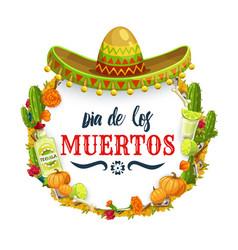 Dia de los muertos mexican sombrero and tequila vector