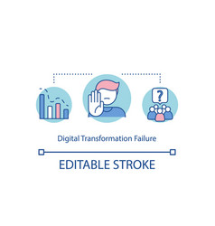 Digital transformation failure concept icon vector