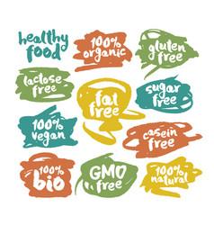 Eco vegan food labels set on colorful scribbles vector