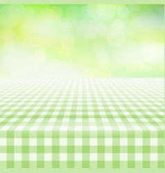 Empty picnic gingham tablecloth green background vector