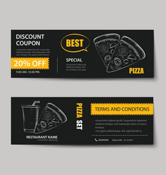 Fast food coupon discount template flat design vector