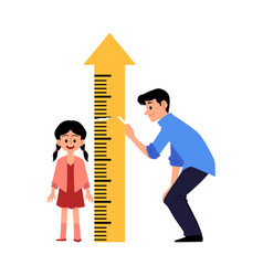 Father check daughter height ruler meter flat vector