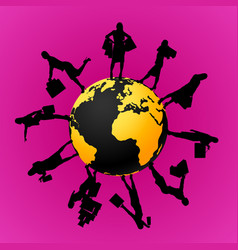 Female silhouettes around planet 2 vector