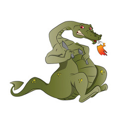 Fire-breathing dragon with spoon and knife vector