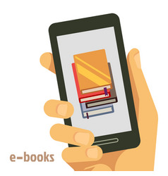Flat e-books concept with smartphone in hand vector