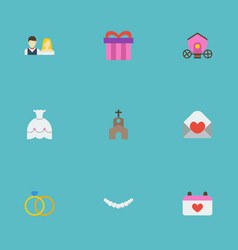 Flat icons building wedding gown jewelry and vector