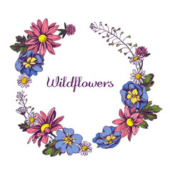 Floral wreath wildflowers hand drawn vector