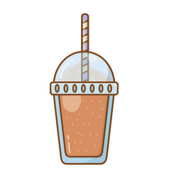 Frozen drink cup with straw isolated vector
