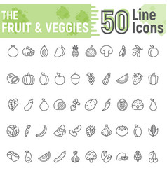 Fruit and vegetables line icon set vegetarian vector