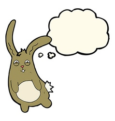 Funny cartoon rabbit with thought bubble vector