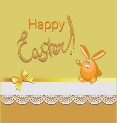 Funny easter hare on a yellow-orange background vector