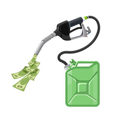 gasoline and petrol fuel pump with canister and vector image
