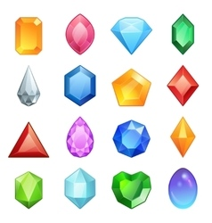 Gems and diamonds icons set in different colors vector