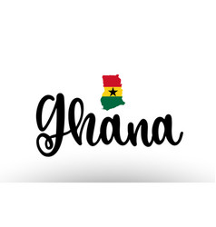 Ghana country big text with flag inside map vector