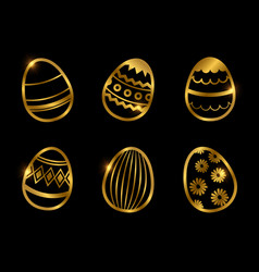 golden decorative eggs icons isolated on black vector image