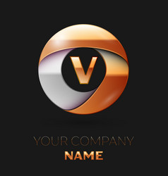 Golden letter v logo in the golden-silver circle vector