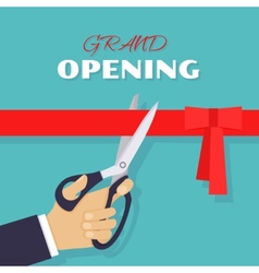 Grand opening Scissors cut red ribbon vector