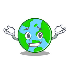 Grinning world globe character cartoon vector