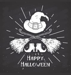 Halloween greeting card vintage label hand drawn vector