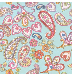 hand drawn decorative seamless pattern with paisle vector image