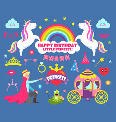 happy birthday little princess party set vector image