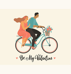 happy couple is riding a bicycle together and vector image